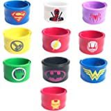 KRUCE 10 Pezzi Superhero Braccialetti Slap per Bambini Schiaffo,Supereroi Birthday Party Supplies Favori, Party Bag Fillers e Party Favors Toy