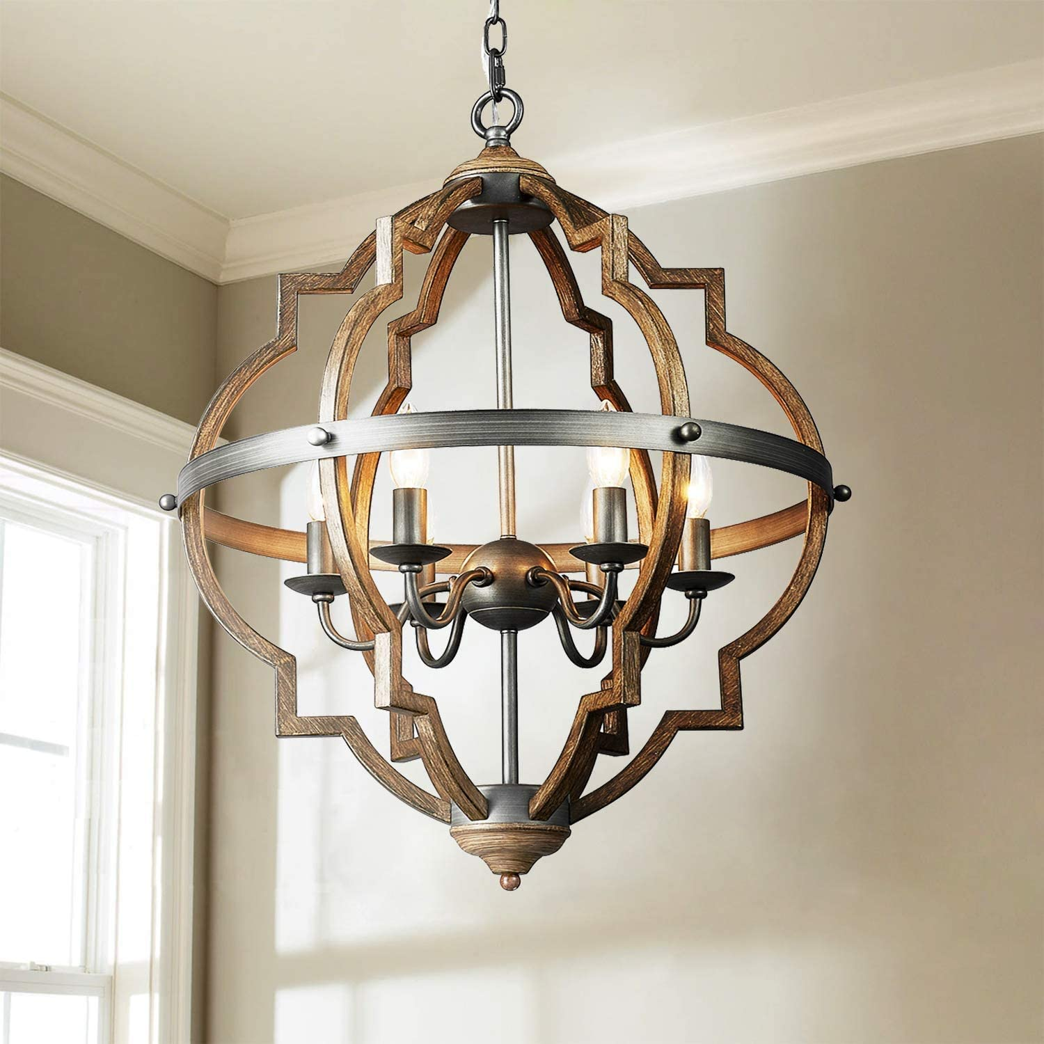 Saint Mossi 6 Lights Stardust Distressed Oak Finish Farmhouse Chandelier Light Fixture Rustic Globe Chandelier Style Globe Pendant Light Farmhouse Pendant Light Fixtures H29 X D21 Chain Adjustable