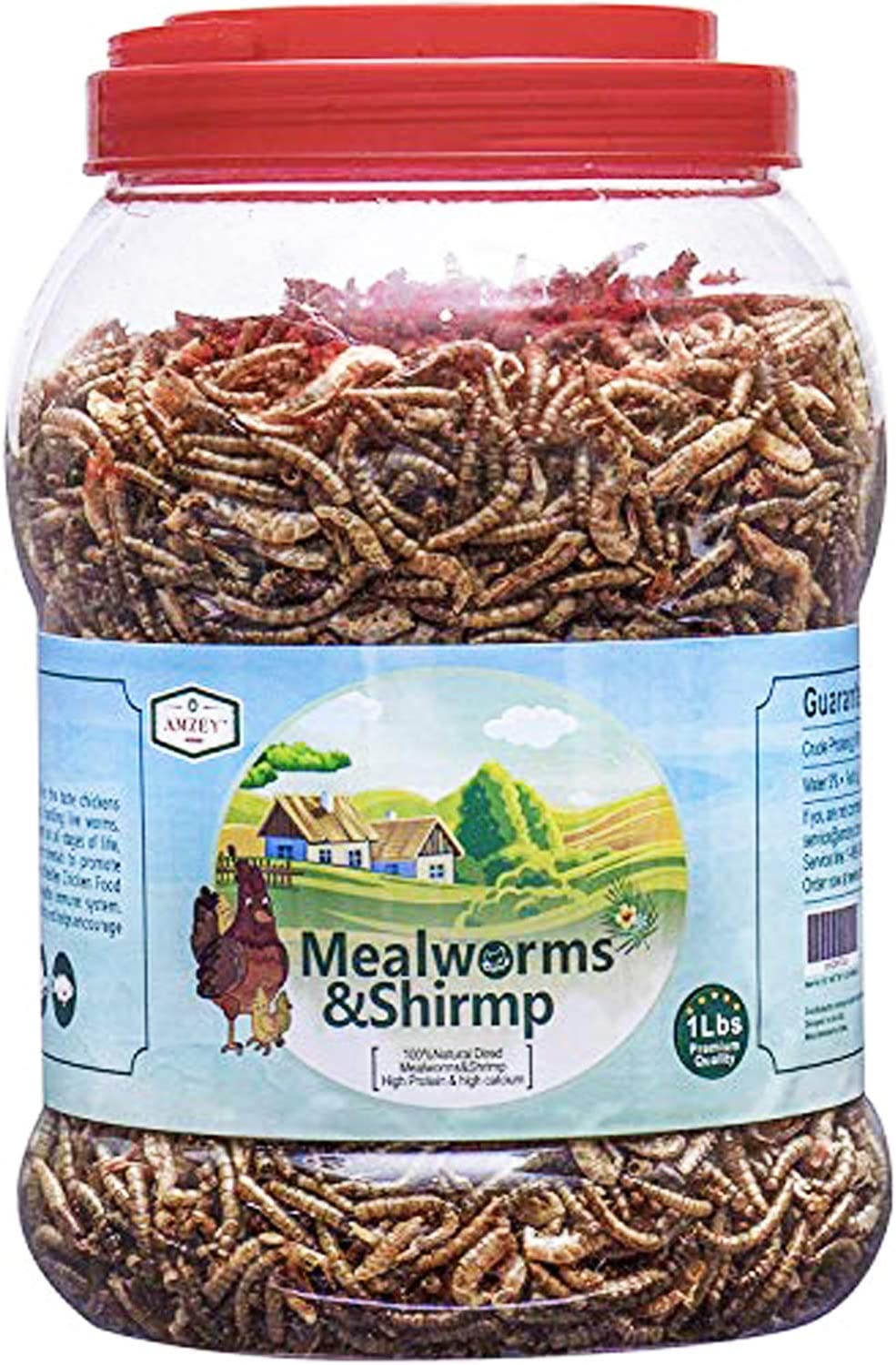 Amzey Shrimp & Mealworms 100% Non-GMO Dried Mealworms - High-Protein Meal Worm Treats -Perfect for Your Chickens,Ducks,Wild Birds,Turtles,Hamsters,Fish,and Hedgehogs