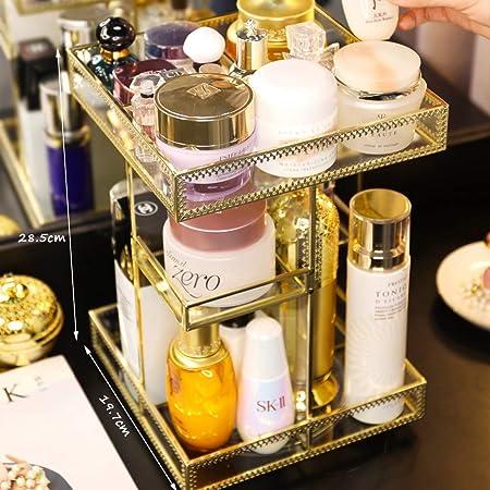 HMM Organizador Giratorio de Maquillaje 360 / Organizadores de Maquillaje Dorado y Almacenamiento (Color : Gold, tamaño : 19.7cm × 19.7cm × 28.5cm): Amazon.es: Hogar