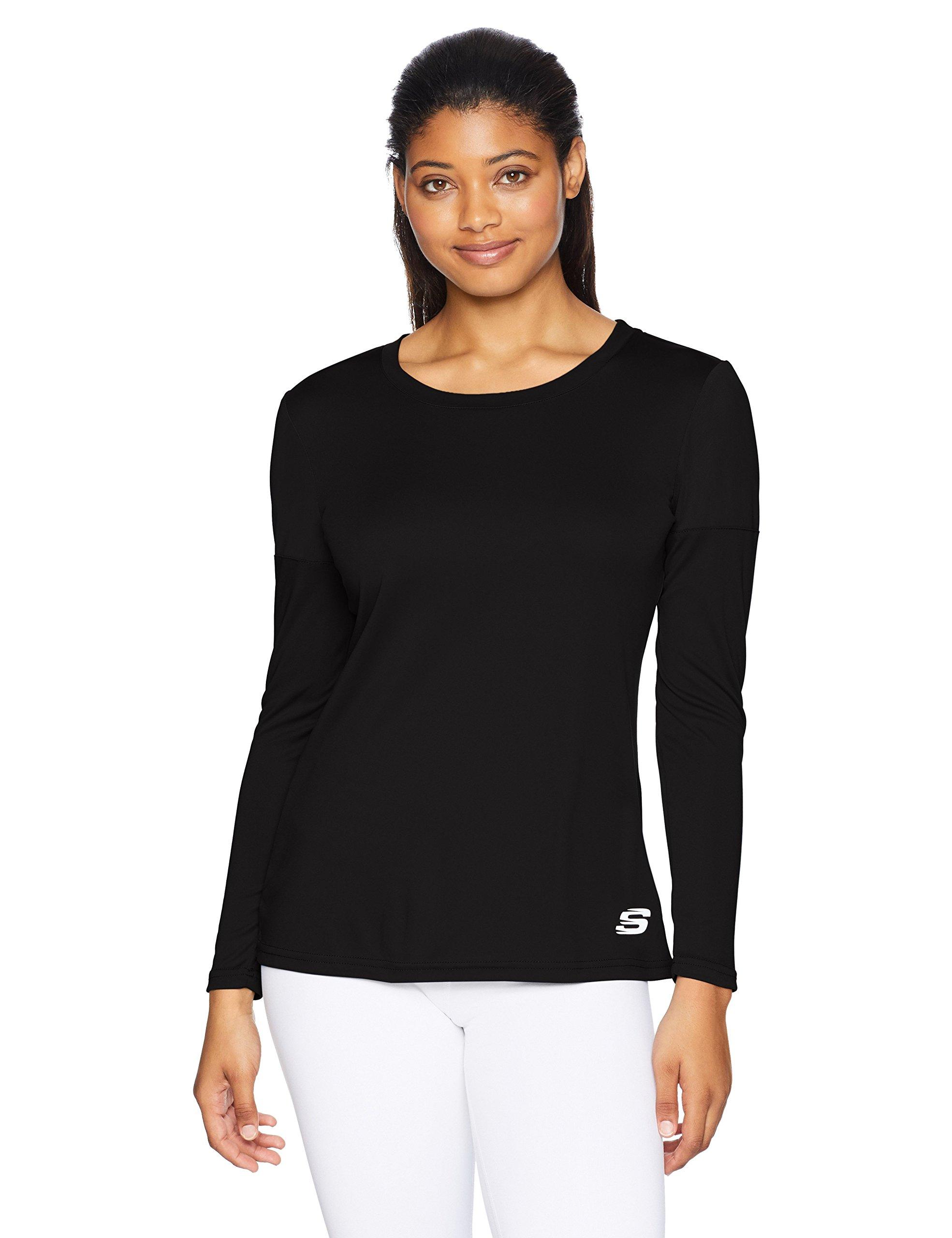 Skechers Active Women's Mesh Pannel Long Sleeve Top, Black, XXL