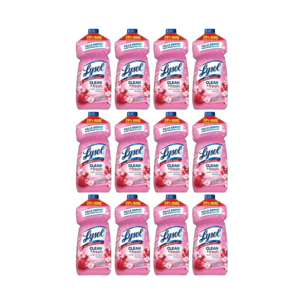 Lysol Clean & Fresh Multi-Surface Cleaner, Cherry Blossom, 48oz (12 Pack)