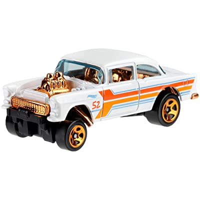 Hot Wheels 2020 Pearl and Chrome 4/6 - '55 Chevy Bel Air Gasser (White): Toys & Games