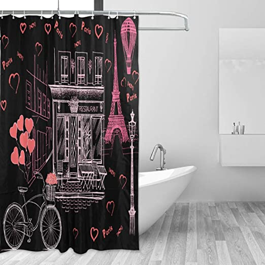 Waterproof Fabric Romantic Paris Eiffel Tower Shower Curtain Set Bathroom Hooks