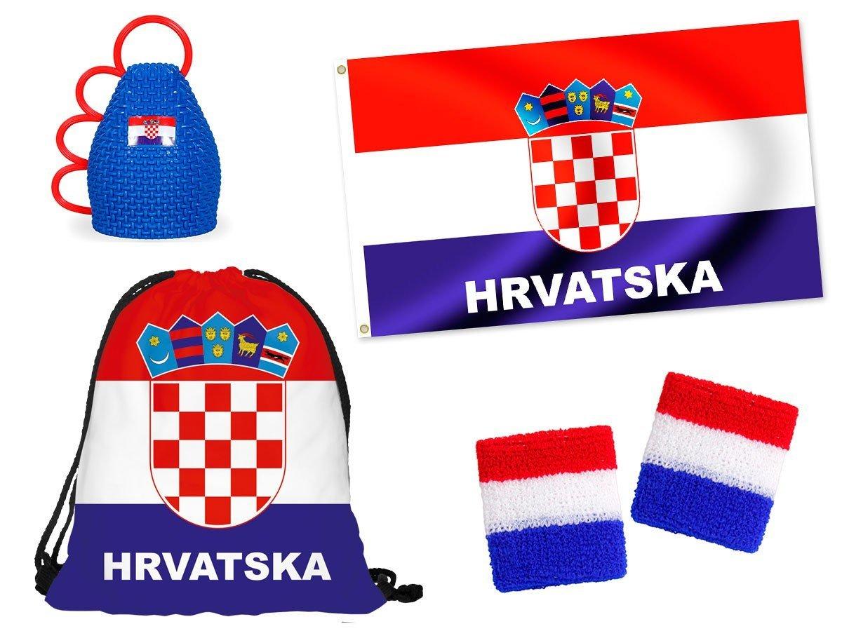 OFFERTA: Kit tifosi Croazia (FP-18) Set da 5 pezzi: 1 x caxirola, 1 x sacca sportiva, 1 x bandiera grande, 2 x polsini, ultra croato calcio eventi festa estate decorazione europei mondiali Alsino