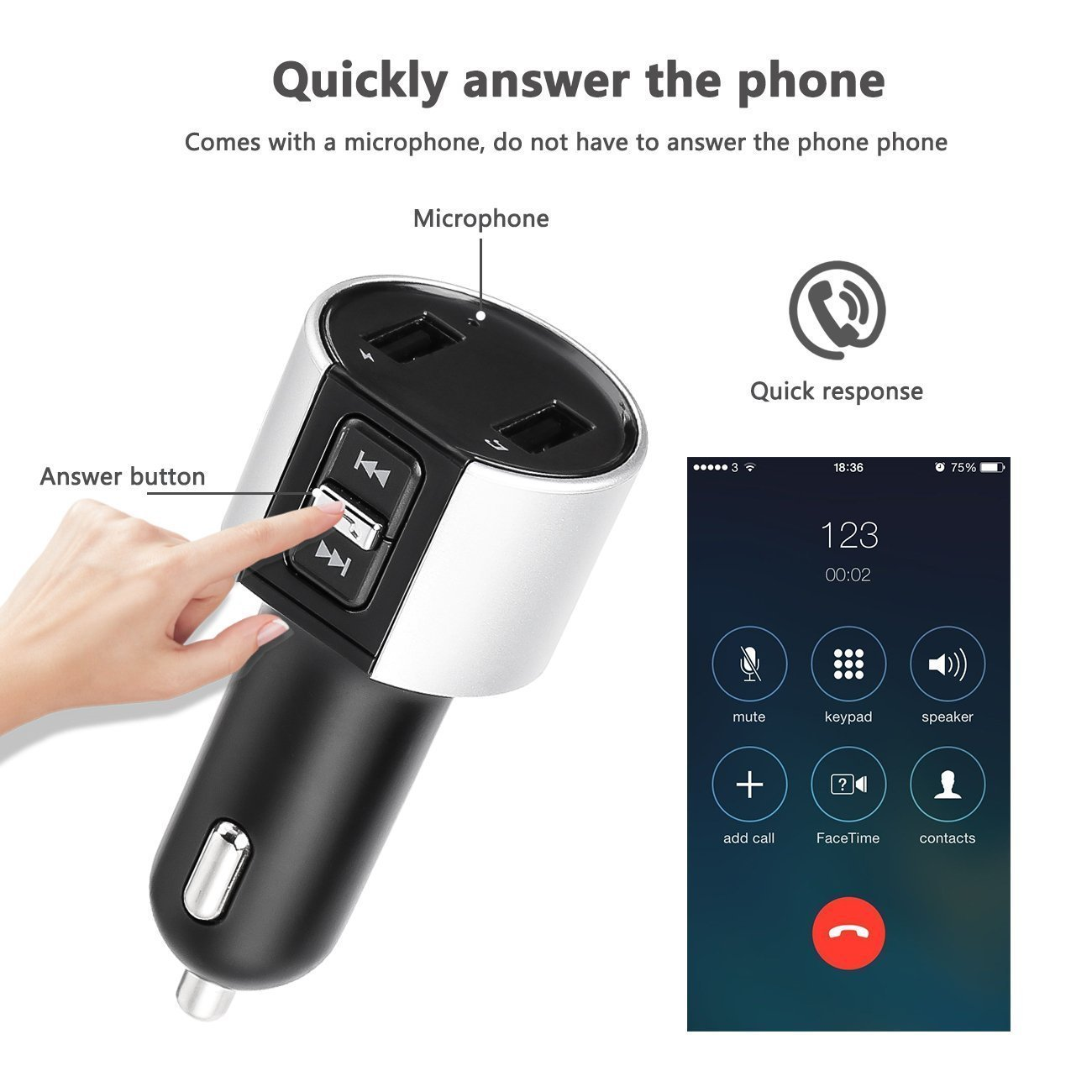 Bluetooth FM Transmitter, Car Charger, Wireless Bluetooth FM Radio Adapter Car Kit FM Transmitter Radio Adapter and MP3 Music Player Control 3.4A Car Charger, Dual USB Ports Charge C26S by Foneda (Image #5)