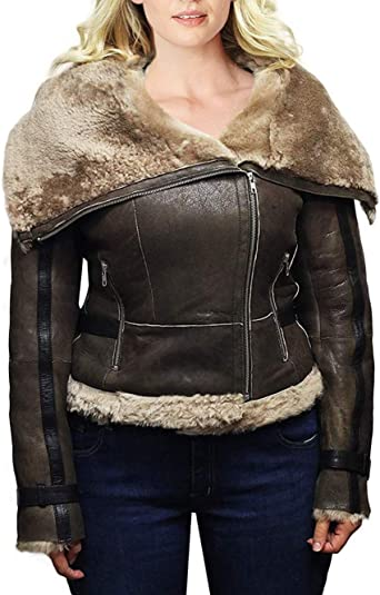 B3 Bomber Distressed Brown Aviator Shearling Sheepskin Motorcycle Women Leather Jacket With Faux Fur