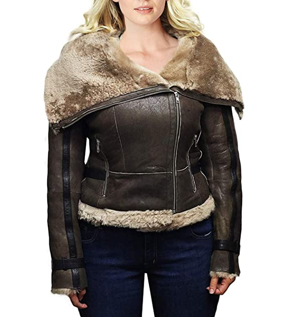 Amazon.com: Chaqueta de cuero marrón para mujer Aviator B3 ...