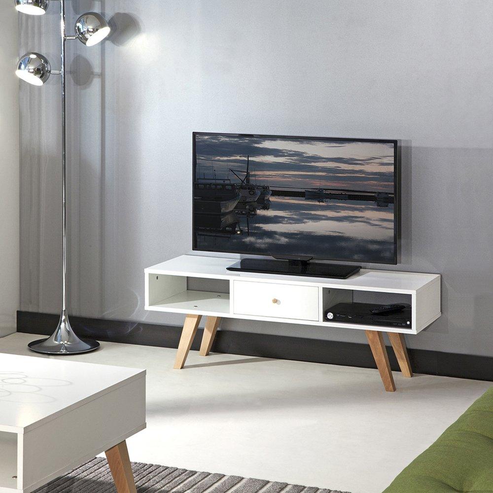 Symbiosis 3094a0421a30 Contemporain Meuble Tv Blanc Pieds Inclines  # Meuble Tv Hetre Massif