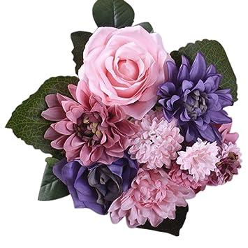Amazon.com: Ramo de flores para boda, rosas Dahlias, flores ...