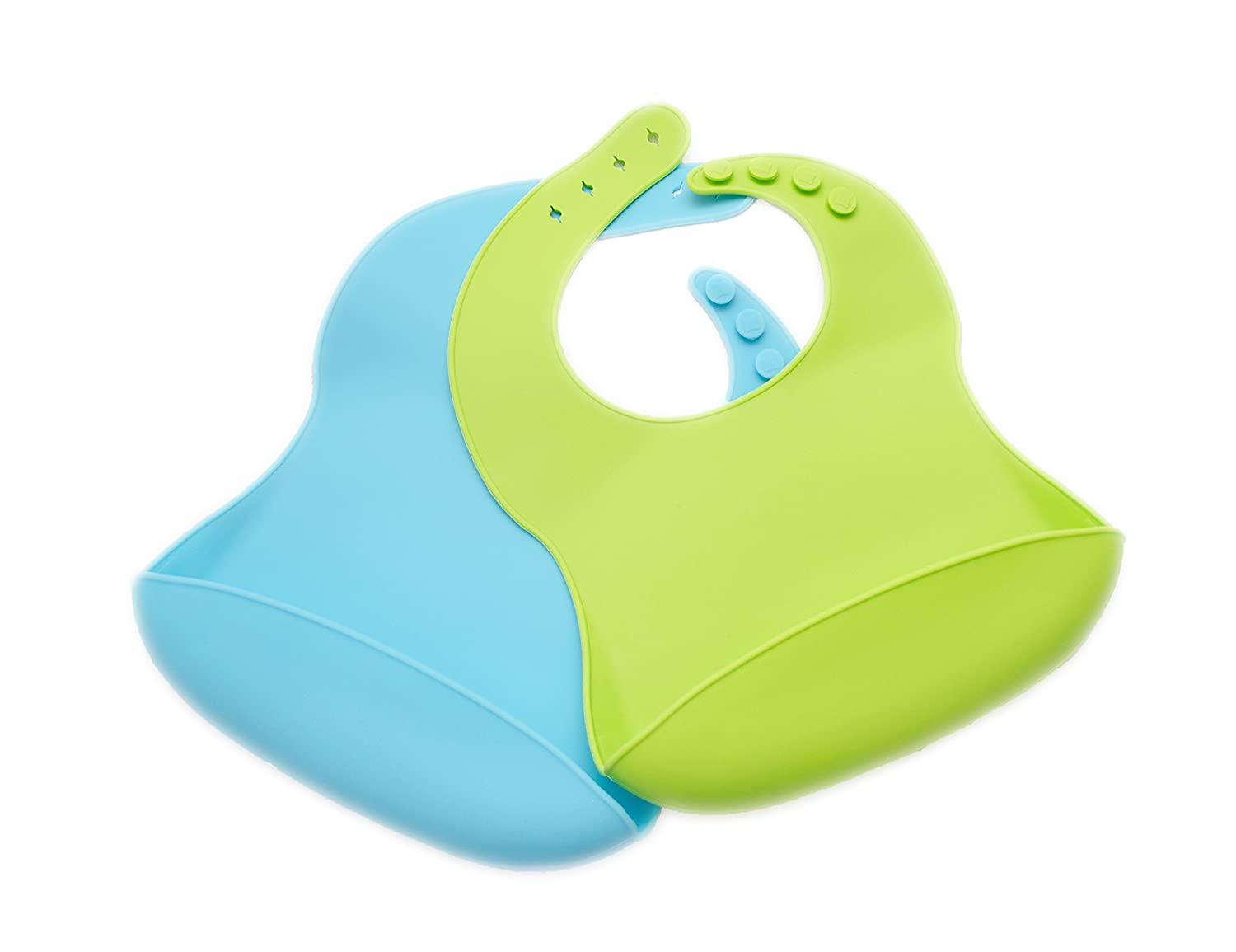 BPA Free Easy Clean up 2 Pack Silicone Baby Bib Pink and Purple
