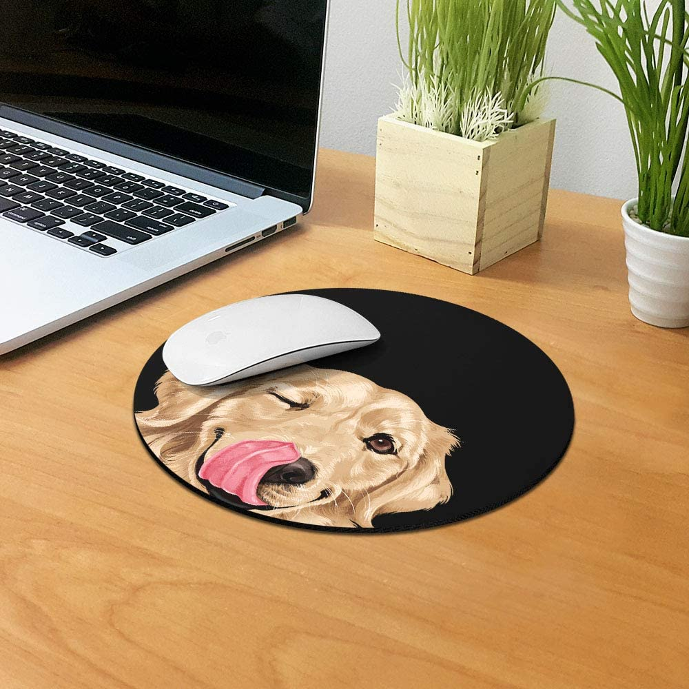 WIRESTER Black White Tuxedo Cat Mouse Pad for Home Non-Slip Round Mousepad Office and Gaming Desk