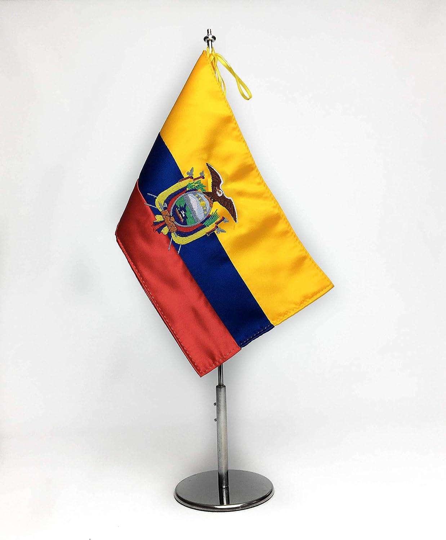 ABBE Global Bandera de Mesa Bordada de Ecuador 15x25 y mástil: Amazon.es: Hogar