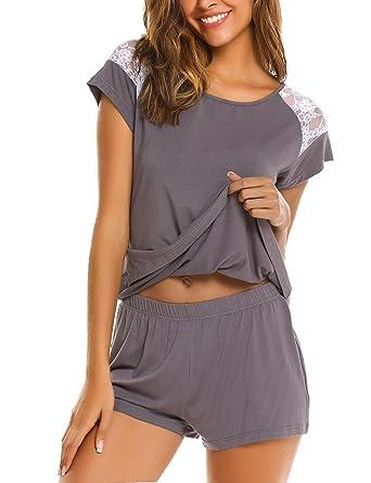 7cc68bd405 Avidlove Women s Pajama Set Short Sleeve Sleepwear Pjs Sets Ladies 2 ...