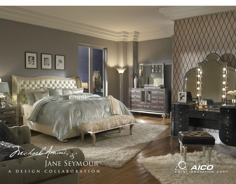 Aico Hollywood Swank Vanity with Bench Set 3 Piece in Crystal Croc by Michael Amini by Aico Amini