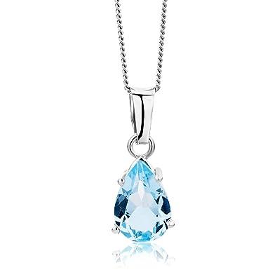 bb2117419392 Miore Collar de Oro Blanco de 9K con Topacio Azul para Mujer  Amazon.es   Joyería