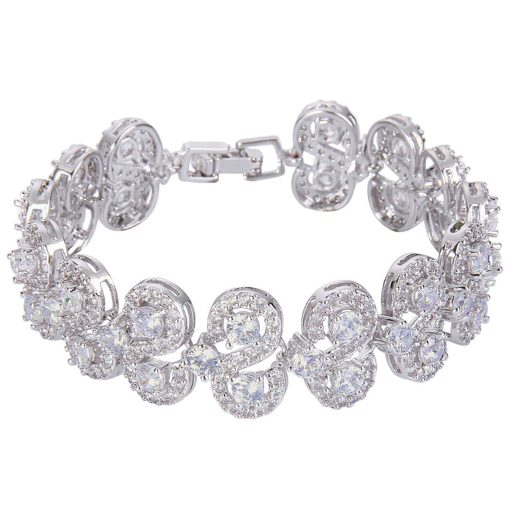 EVER FAITH Silver-Tone CZ December Birthstone Vinstage Style Art Deco Roman Tennis Bracelet Clear