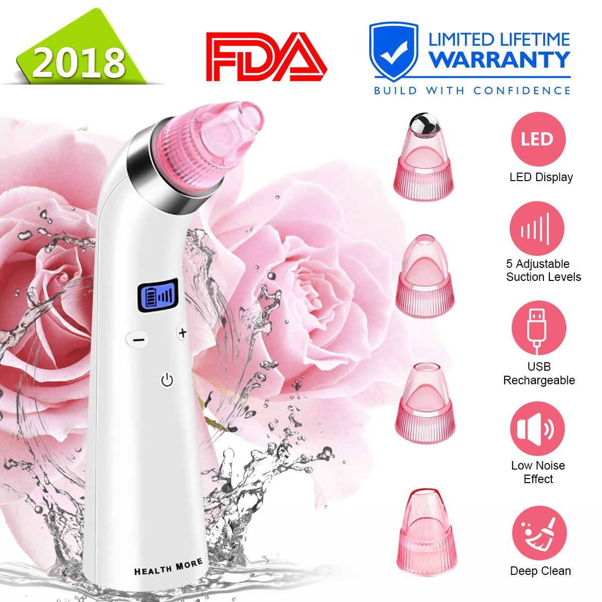Blackhead Remover Vacuum, Electric Skin Pore Cleaner Blackhead Vacuum Suction Removal Rechargeable Skin Peeling Machine Comedone Acne Eliminator Device For Nose Face Women Men