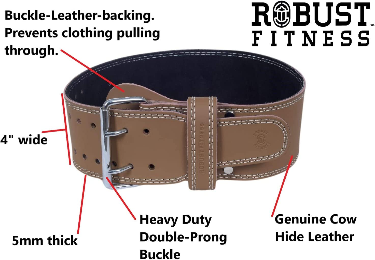 ROBUST FITNESS Genuine Leather Adjustable Weightlifting Belt, Protection Support for Back Core Workouts, Cross-Training, Olympic Power-Lifting- 4 Wide, 5mm