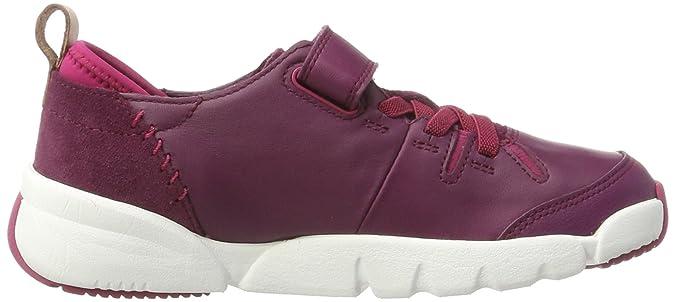 Clarks Mädchen Tri Wish Jnr Sneaker, Violett (Plum Leather), 34 EU