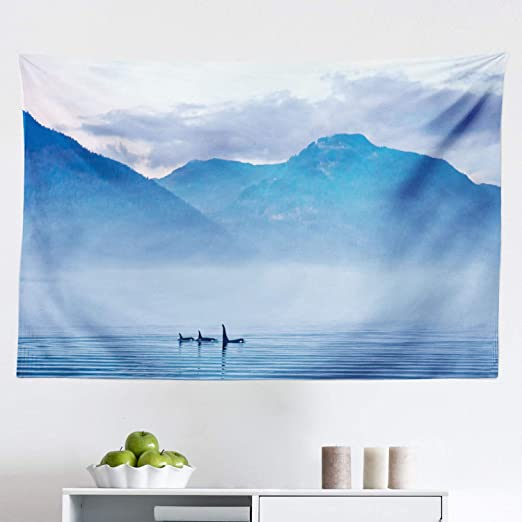 Orcas Killer Whales Tapestry Canvas Collection D/'Art