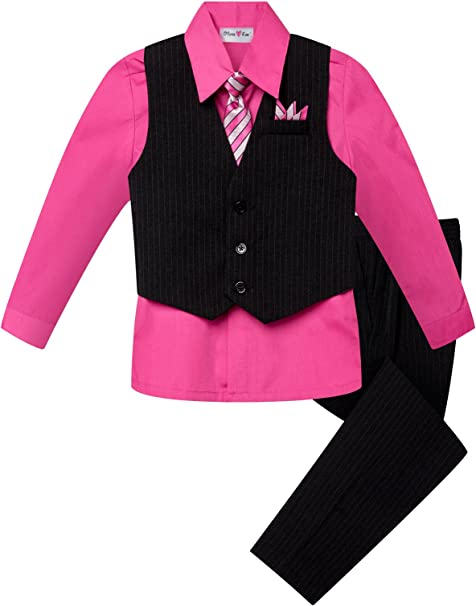 Boys Teal Pin-Stripe Formal Dress Tuxedo w//Vest 5-pc Suit Set size S-XL 2T-20