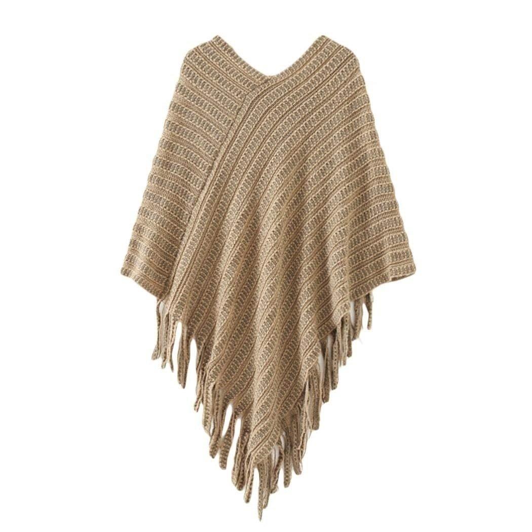 Poncho Damen Elegante Herbst Winter Quaste Cape Umh/ängetuch Einfarbig Freizeit Mode Pullover Sweater Bekleidung Strickpulli Retro