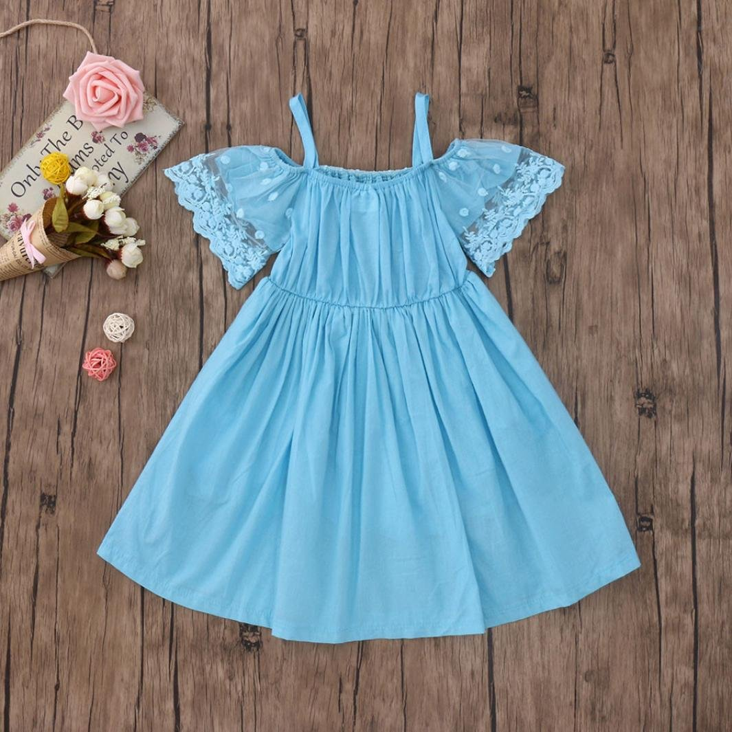5c06ef7545667 Vicbovo Little Girl Dress, Toddler Baby Girl Off Shoulder Short Sleeve Lace  Princess Party Wedding Dresses