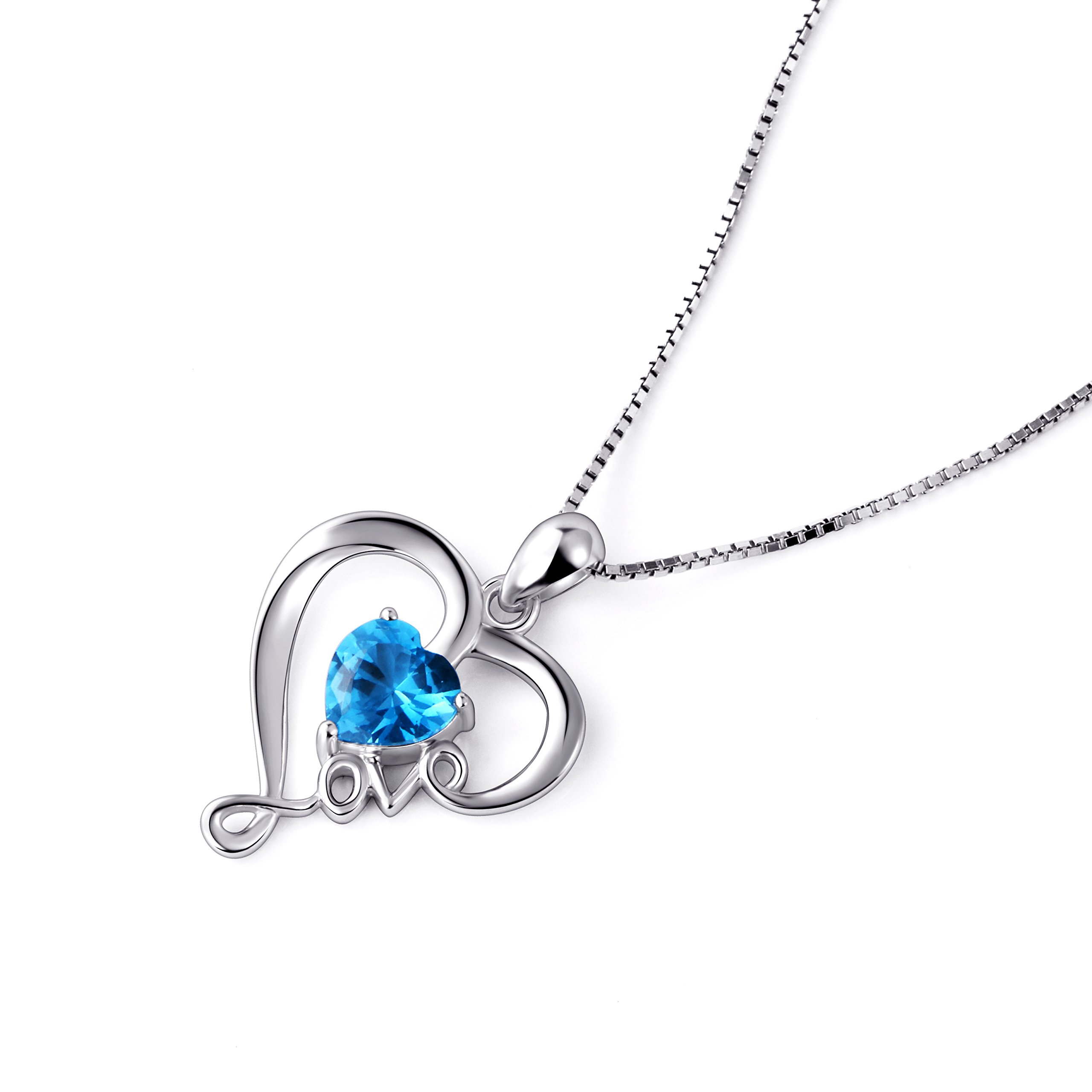 necklace pendant rose infinity inch silver cz tone white fashion and heart sterling finish pin with