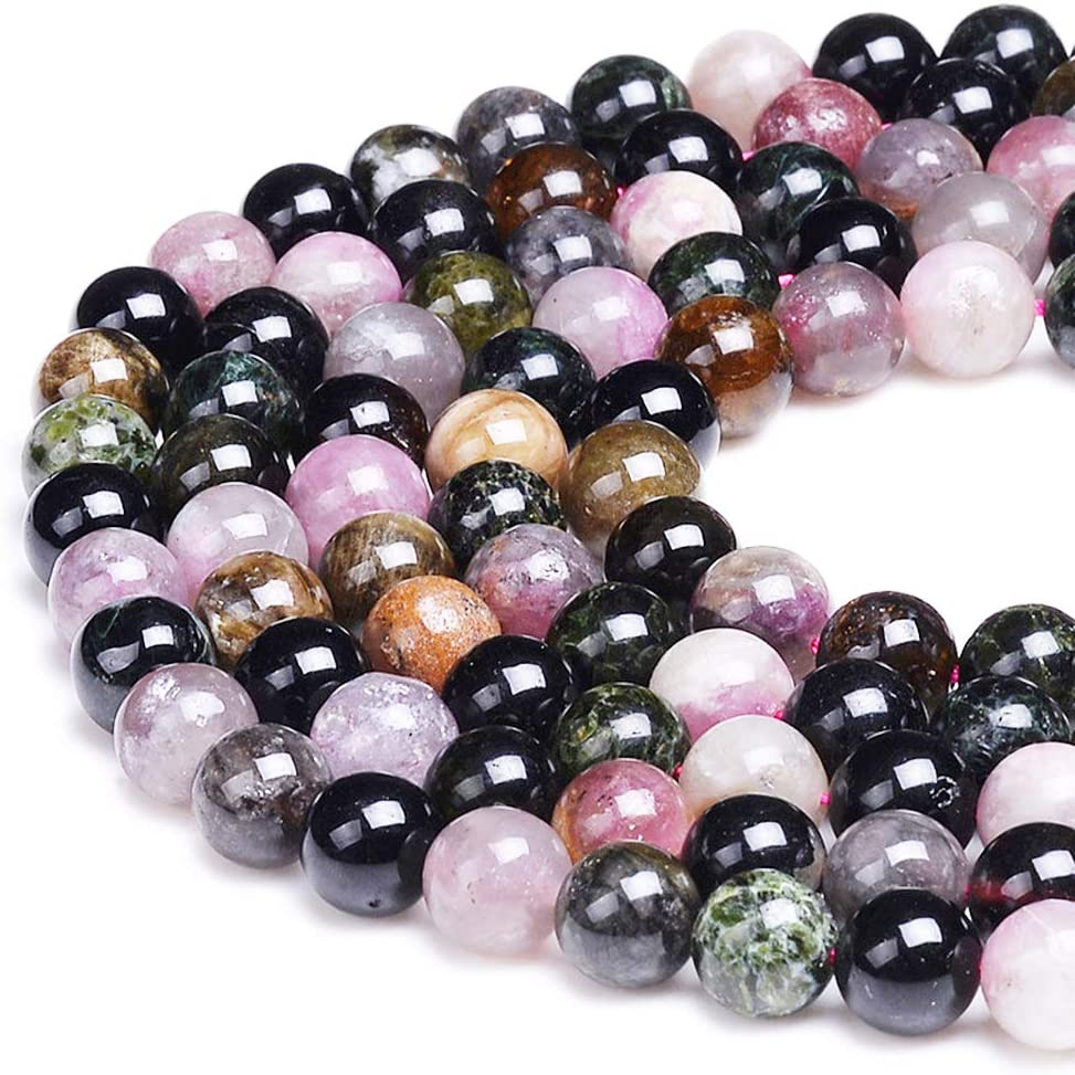 """Natural Multi-Color Tourmaline Round Stone For Jewellery Making Loose Beaded 15/"""""""