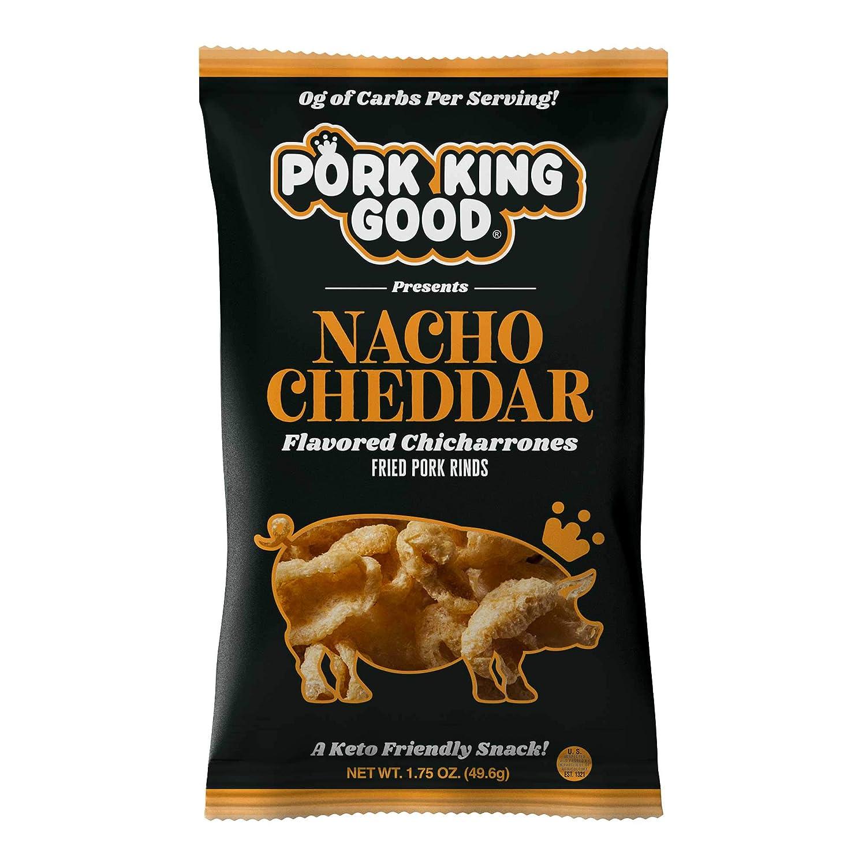 Pork King Good Nacho Cheddar Pork Rinds (Chicharrones) (4 Pack) Keto Snacks