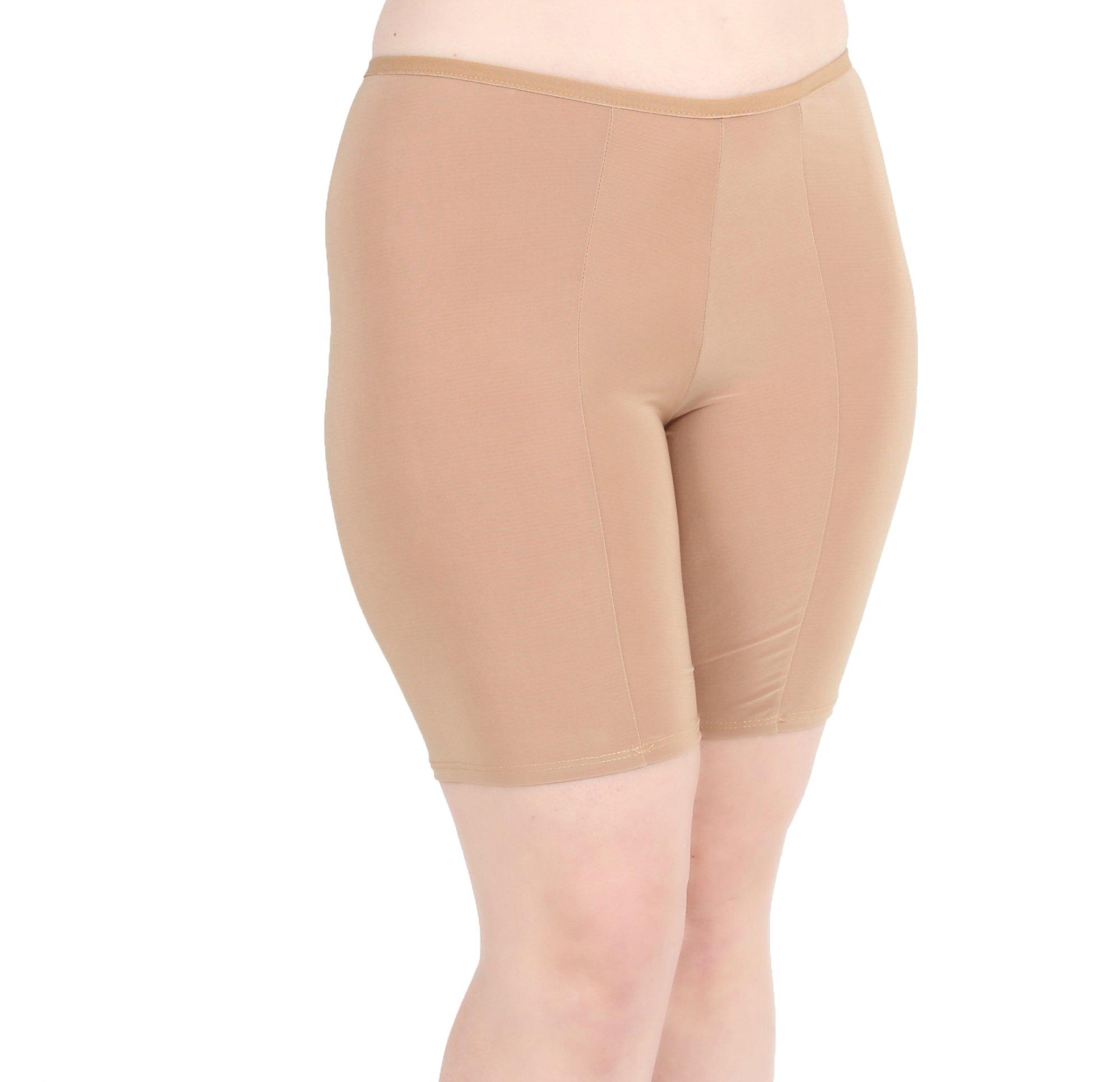 Undersummers Classic Shortlette: Rash Guard Slip Shorts (Medium, Beige)