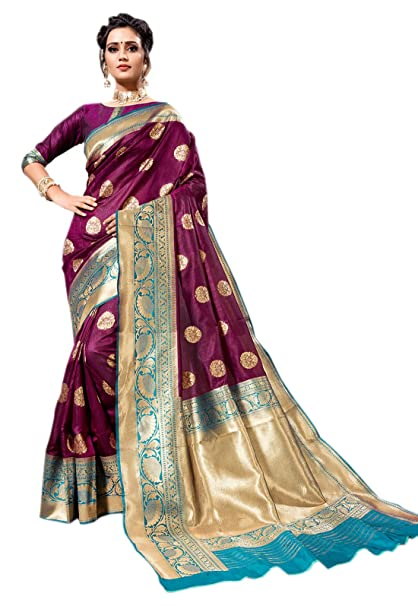 a3f9a46b47d393 KAD Creations Indian Purple Weaving Zari Border Work Cotton Silk Party Wear  Saree  Amazon.in  Clothing   Accessories
