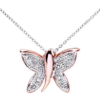 naava womens 9 ct rose gold diamond butterfly pendant 46 cm white gold trace chain