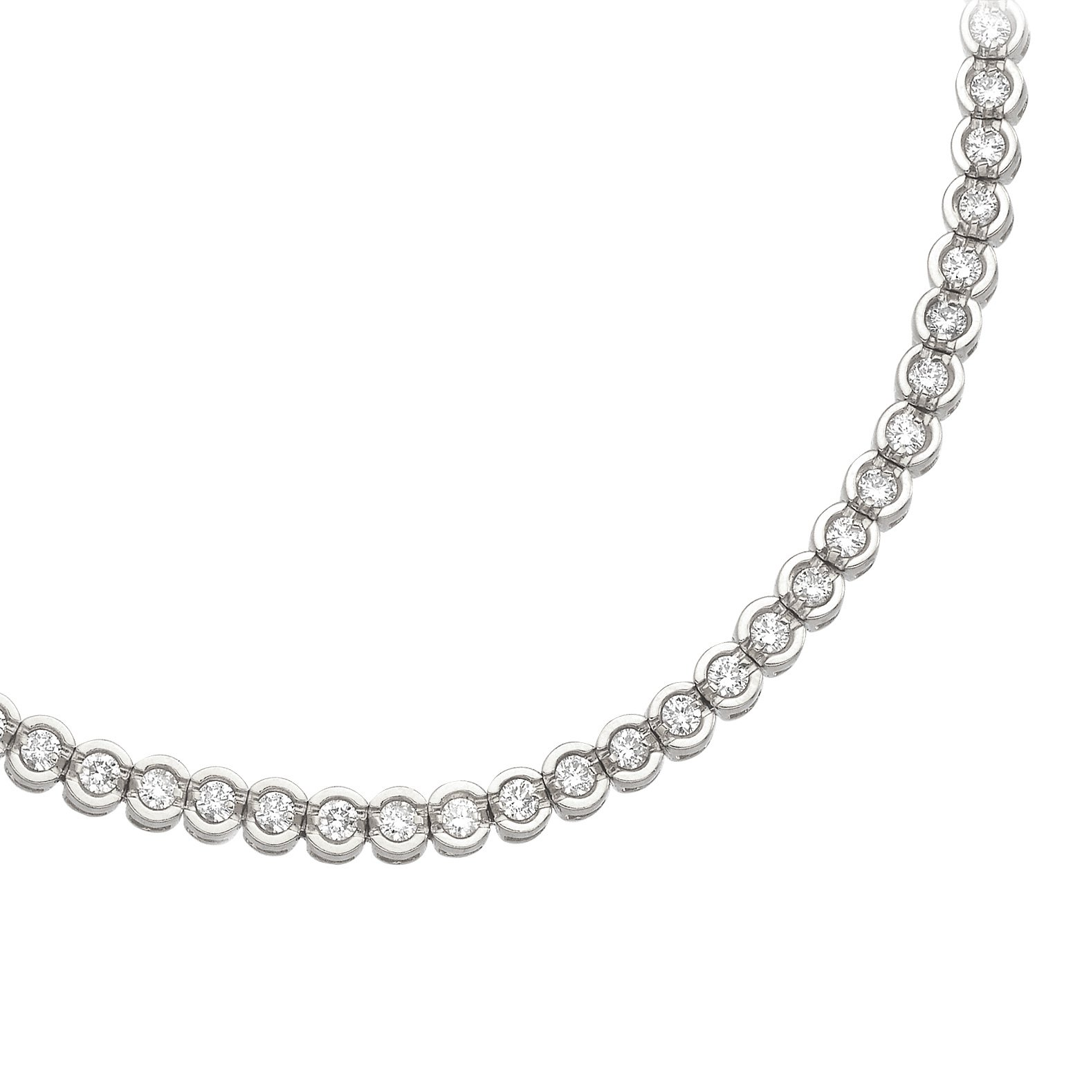 14K White Gold Round Diamond Circular Style Tennis Bracelet (8 inch) by Direct-Jewelry