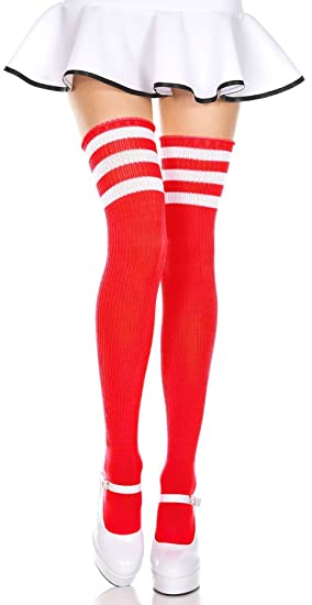 2cf891d5c Image Unavailable. Image not available for. Color  Red and White 3 Stripe  Thigh High Socks