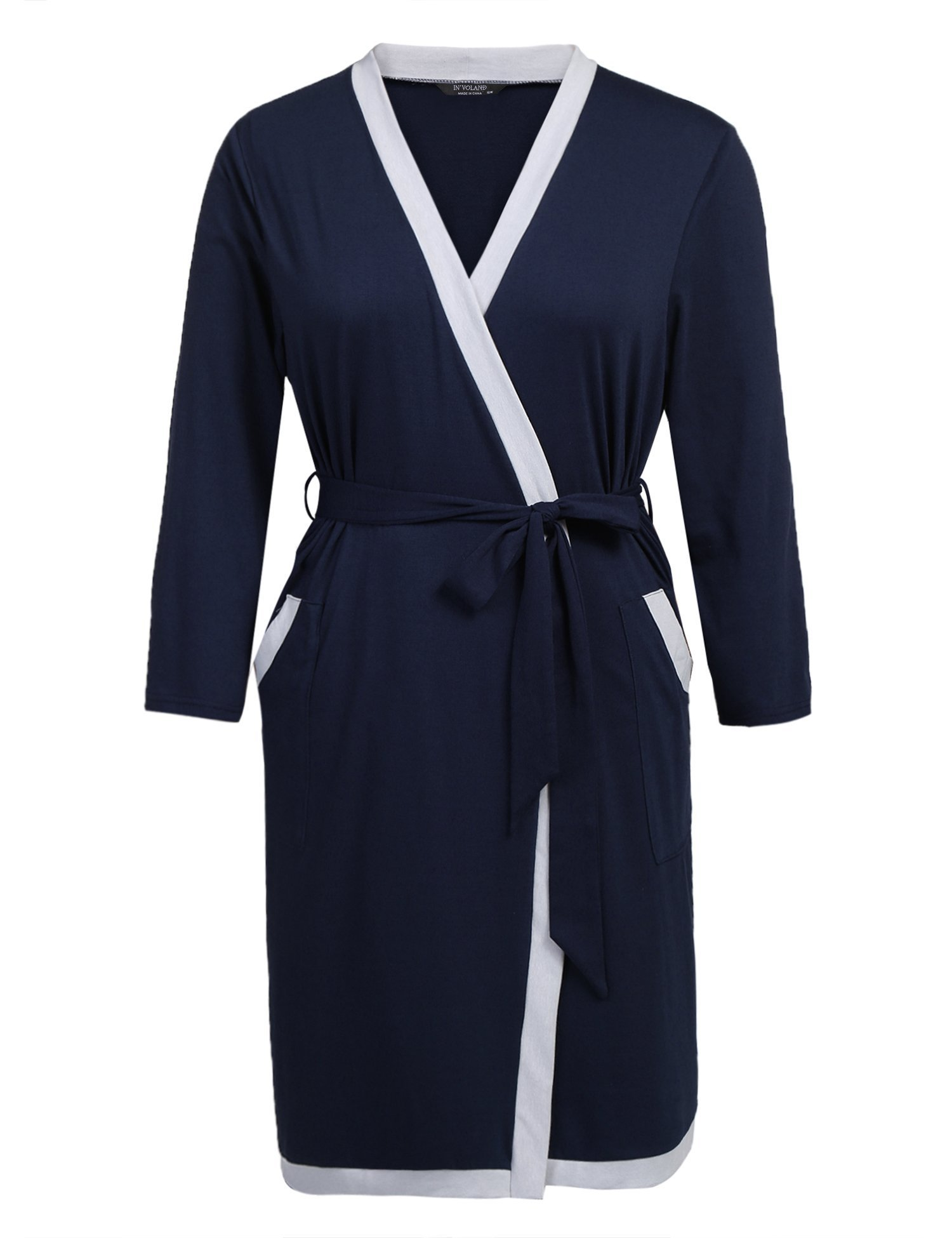 IN'VOLAND Plus Size Women Waffle Bathrobe Lightweight Kimono Robes Spa Robes Sleepwear Loungewear