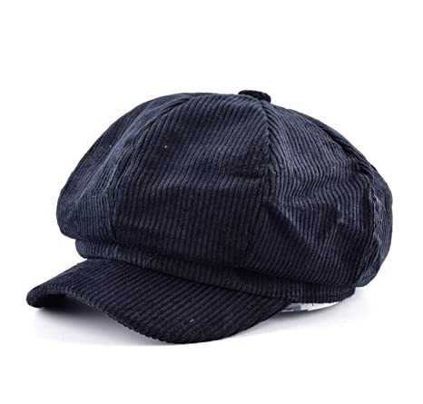 MEIZOKEN Unisex Octagonal hat Men Autumn Corduroy Fabric Gorras Planas Newsboy Cap Women Solid Color Berets, Black at Amazon Womens Clothing store: