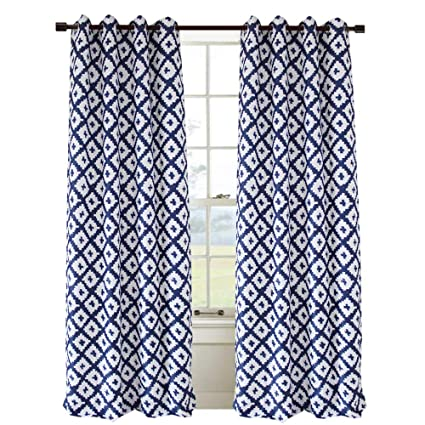 Anady Top White Navy Blue Curtains 2 Panel Geometric Drapes For Living Room Grommet 63 Inch Length