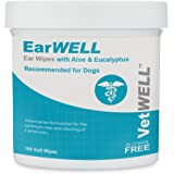 VetWELL Dog Ear Wipes - Otic Cleaning Wipes for Infections and Controlling Ear Infections and Ear Odor in Pets - EarWELL 100