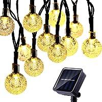 Cadena Luces Solares ,Vagalbox 22 ft 50 LED Solar Luces LED 2 Modos Impermeable IP65 Luces Solares con Modelo de Ball para Jardin Exterior, Interior, Ventana Valla Bodas, Fiesta, Decoraciones Navideñas Blanco-Cálido