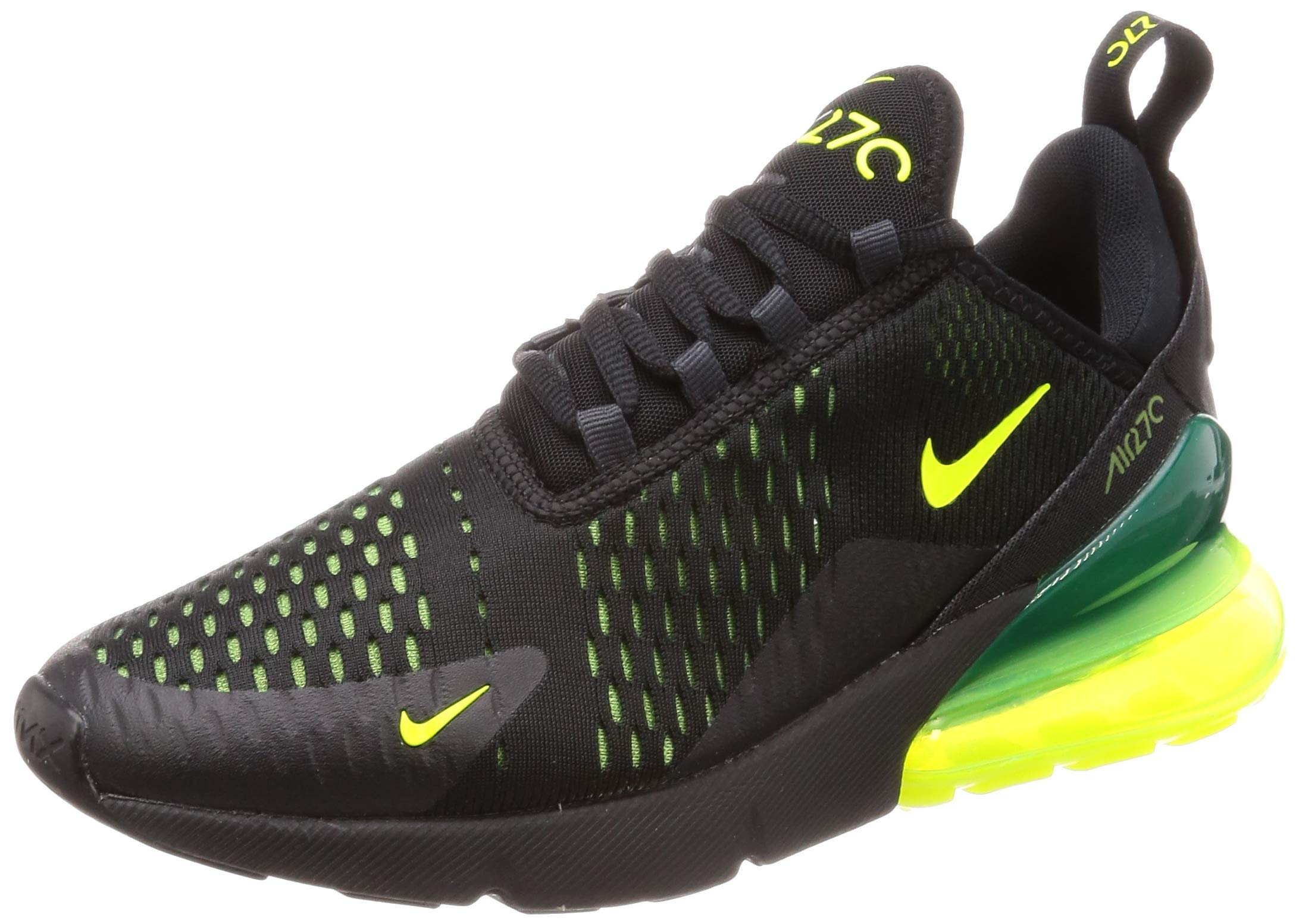 best service 6836a a9842 Nike Mens Air Max 270 Running Shoes (10.5, Black/Volt/Black/Oil Grey)
