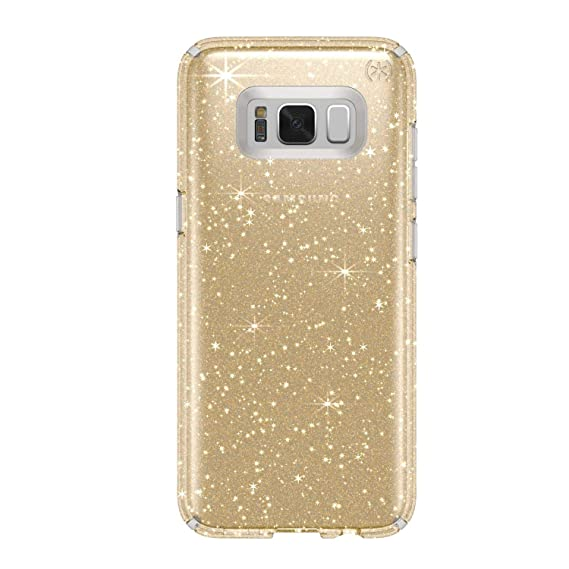 Speck Products Presidio Clear + Glitter Cell Phone Case for Samsung Galaxy S8 Plus - Clear With Gold Glitter/Clear