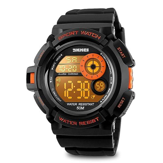 Reloj de pulsera digital para hombre con pantalla LED e impermeable, estilo casual, tiene cronómetro y alarma, color naranja: Amazon.es: Relojes