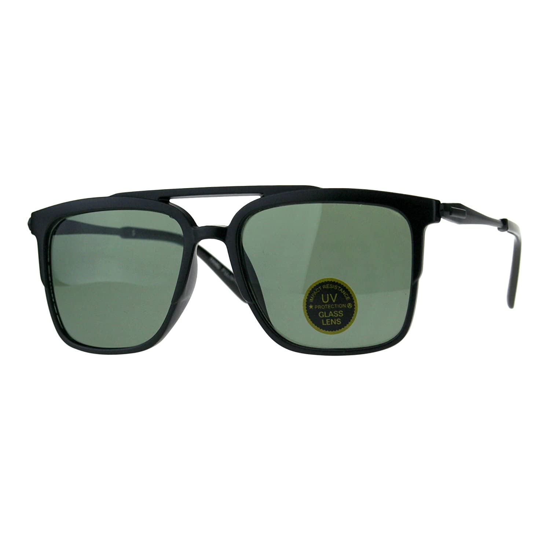 Mens Tempered Glass Lens Rectangular Flat Top Mob Sunglasses