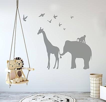 Wall Decal Decor Vinyl Safari Animal Wall Decal - Elephant Giraffe Birds Monkey Jungle Silhouette Wall  sc 1 st  Amazon.com & Amazon.com: Wall Decal Decor Vinyl Safari Animal Wall Decal ...