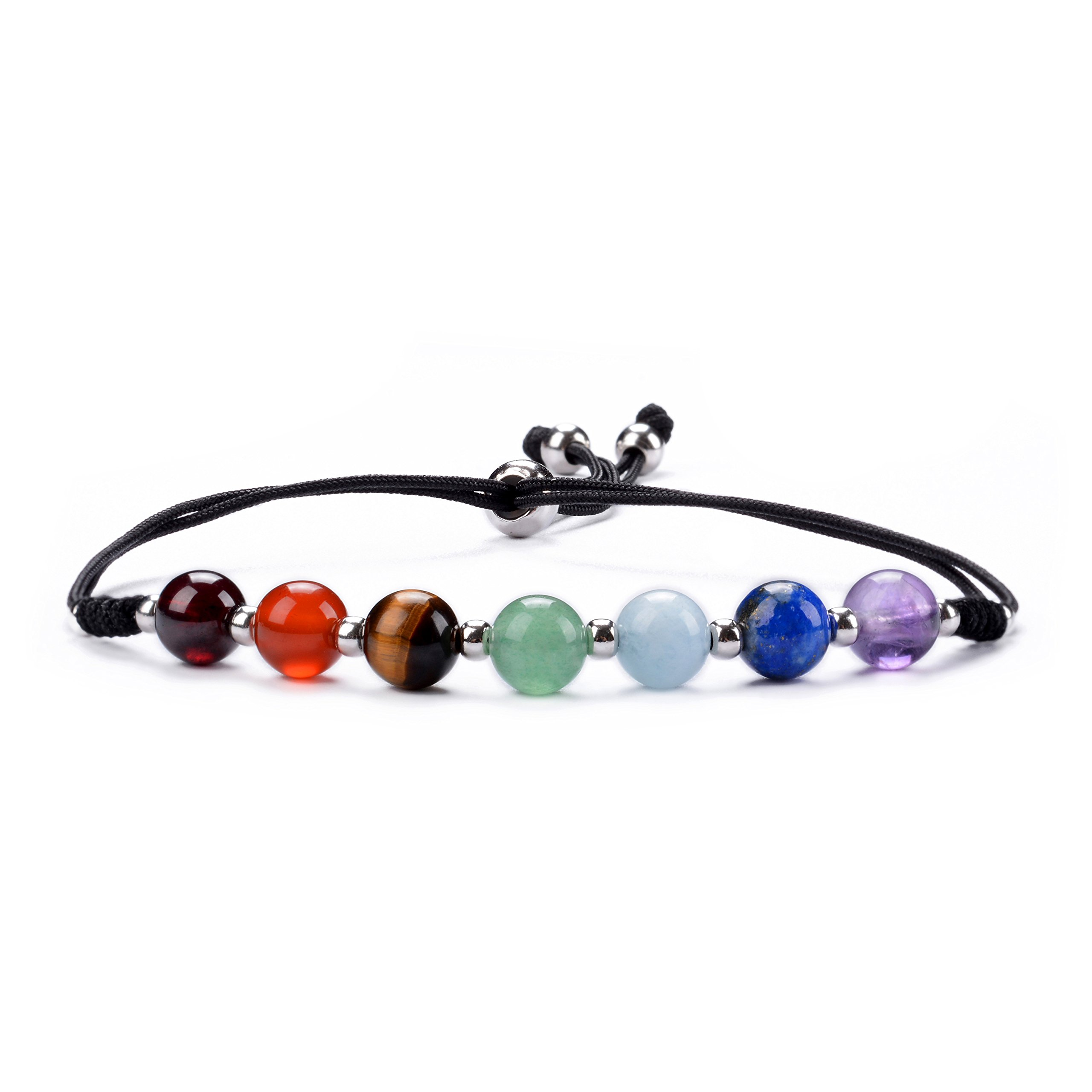 Cherry Tree Collection Natural Gemstone Chakra Bracelet | Adjustable Size Nylon Cord | 6mm Beads, Silver Spacers | 6.0-7.5'' Womens/Girls (Black)