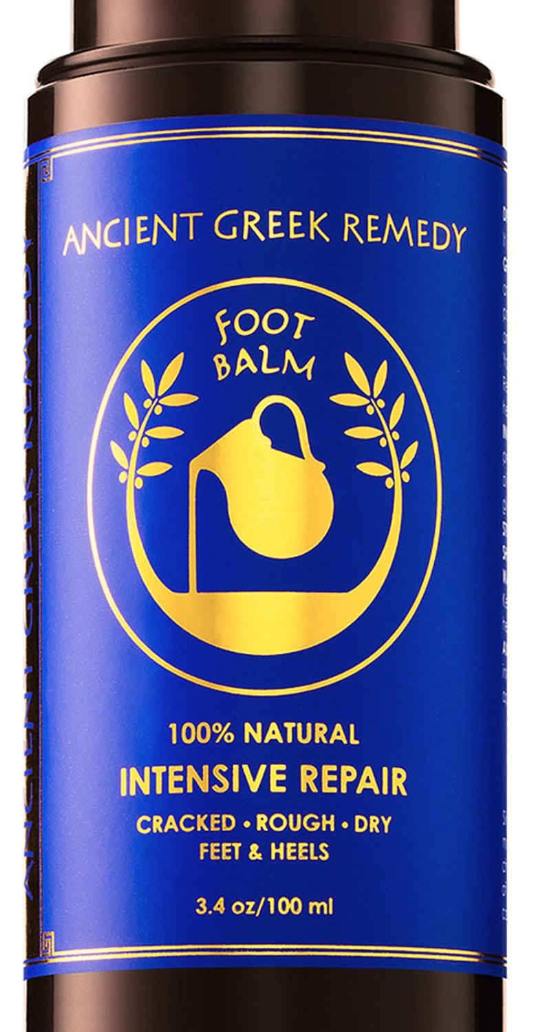 Organic Foot butter Balm Treatment to Heal, Repair, Smooth and Soften Dry Cracked Itchy Peel Skin. Best Callus Remover. Natural Heel Cream Moisturizer for Soft and Healthy Feet Care, Free Pumice Stone by Ancient Greek Remedy