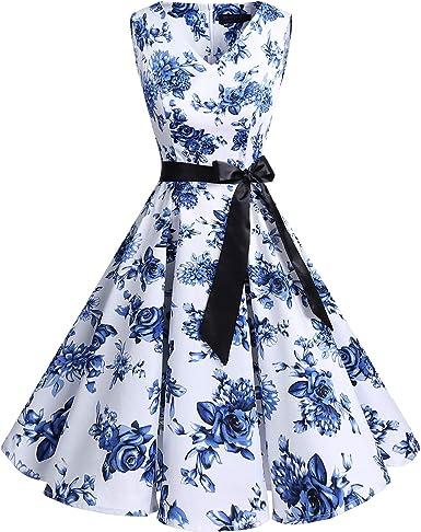 TALLA XXL. Bridesmay Vestido de Cóctel Fiesta Mujer Verano Años 50 Vintage Rockabilly Sin Mangas Pin Up White Blue Flower XXL