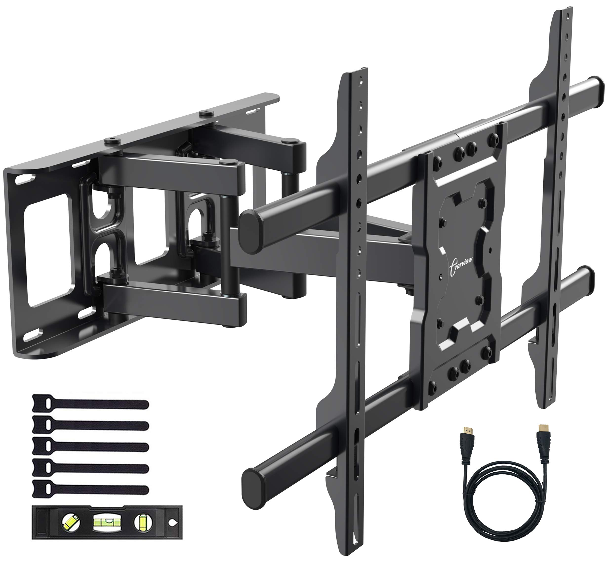 EVERVIEW TV Wall Mount Bracket fits to most 37-70 inch LED,LCD,OLED Flat Panel TVs, Tilt Full motion Swivel Dual Articulating Arms, bring perfect viewing angle, Max VESA 600X400, 132lbs Loading by EVERVIEW